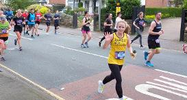 A Team Dogs Trust runner at the Manchester Marathon