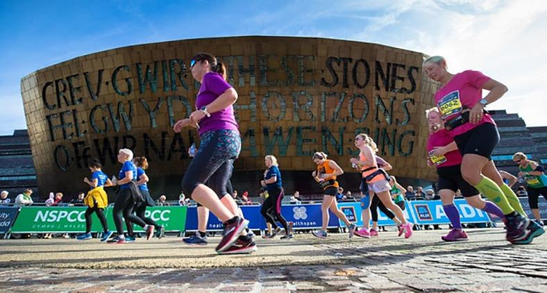 Runners completing the Cardiff Half Marathon