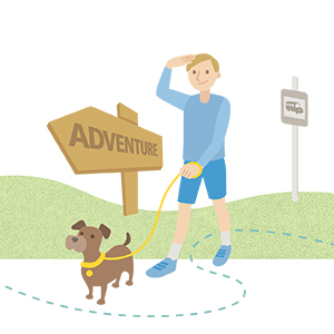 Illustration of man walking his dog