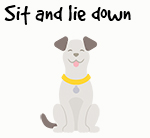 Illustration of dog sitting