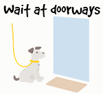 Illustration of dog waiting at doorway