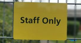 Staff only sign to promote Behind the Scenes tours at Dogs Trust Glasgow.