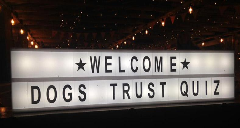 Dogs Trust quiz sign - welcome