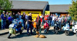 The Warwickshire Scooter Alliance outside Dogs Trust