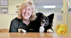 Angela at Dogs Trust Shoreham celebrates 20 years alongside a Collie.