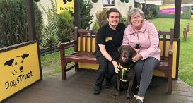 Stephen Thompson and foster carer Linda and dog Rolo